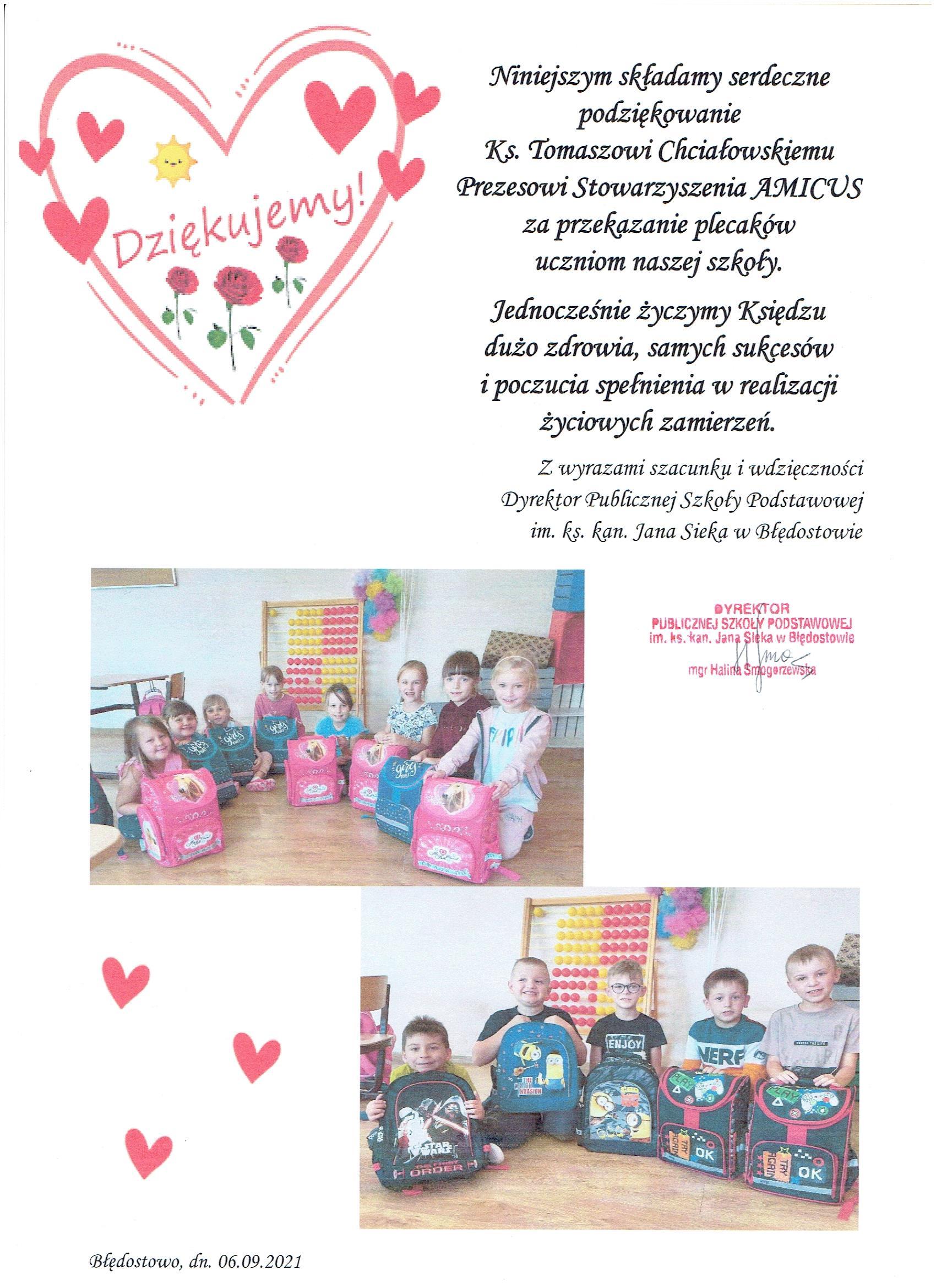 Podziękowania od dzieci z Litwy i z Błędostowa